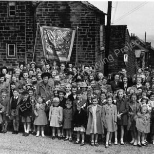 Methodist Whitsun. Parade at Norfolk Hill, Grenoside c.1948