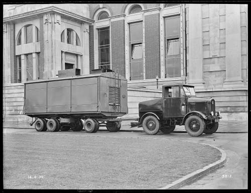 """""""Latil"""" tractor and generator trailer with trailer closed"""