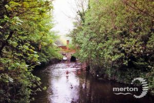 Bridge over the River Wandle, on London Road, viewed from inside Ravensbury Park, Mitcham