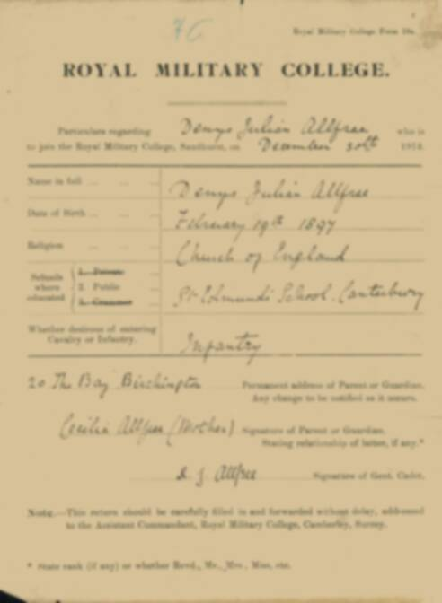 RMC Form 18A Personal Detail Sheets Jan 1915 Intake - page 2