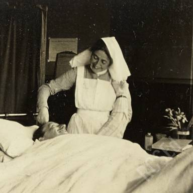 Sister Nicholson Tending to Patient Walker