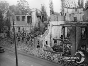 Bomb damage to Colour Printers, Morden Road, Mitcham