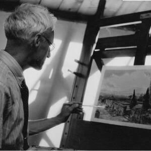 133 - Male artist painting scene