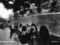 Horses and carts crossing the ford by Wandle Bridge