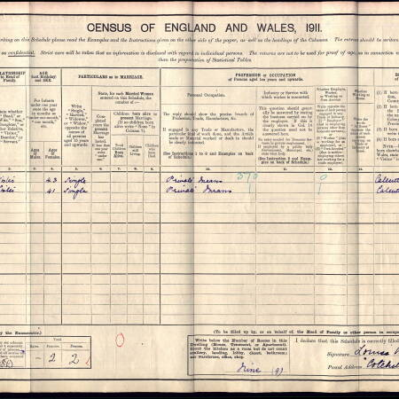 Census record 1911 - 2 Crescent Road, Wimbledon