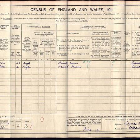 Census record 1911 - 2 Crescent Road, Wimbledon