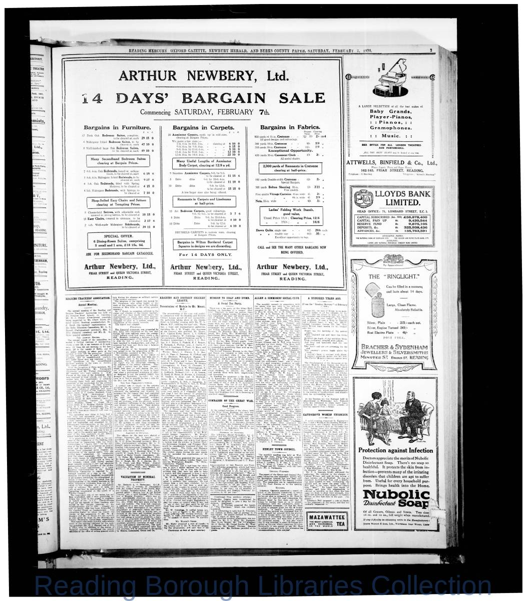 Reading Mercury Oxford Gazette  Saturday, February 7, 1920. Pg 3