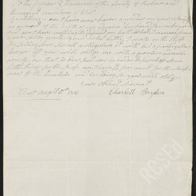 Charlotte Bryden, widow dependent requesting an advance on her pension