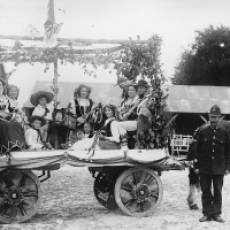 1910 A Decorated Float in the Yard of Townsend Farm Houghton Regis