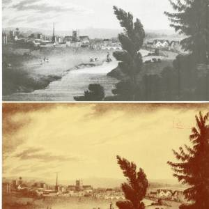 View of Hereford drawn by I Black, greetings cards