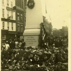 War memorial with wreaths, High Town, Hereford