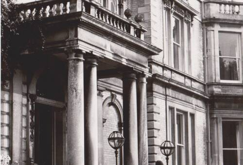 Reed Hall, door, photograph, c1975, Exeter