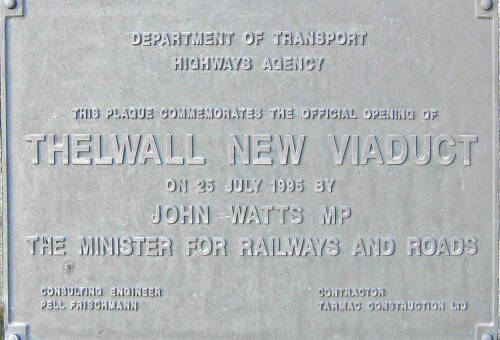Thelwall new viaduct  plaque