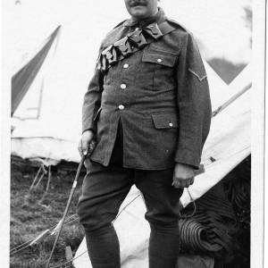 Soldier stood outside tent