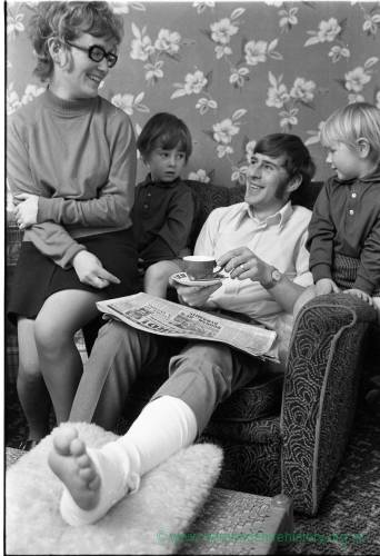 Hereford United's Roger Griffiths recovering at home after breaking his leg in  the Newcastle cup tie in February 1972.