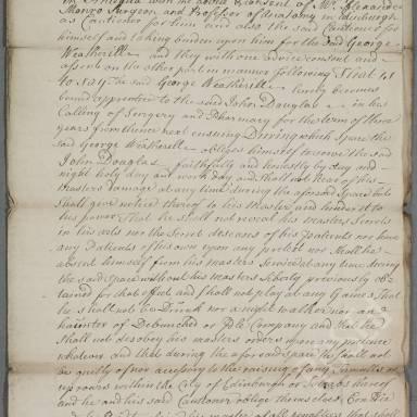 Indenture between John Douglas, surgeon apothecary and George Weatherill