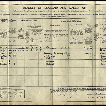 1911 Census - 1 The Parade, Mitcham