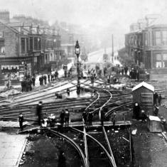 Laying tramway track at Chichester 1906