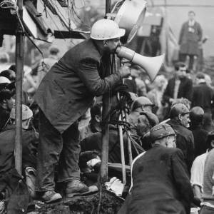 Welsh miner with a megaphone