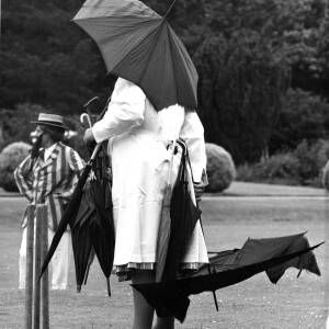 An umpire sheltering under an umbrella during the Ledbury Rostox Club v Cranham Deeroasters cricket game.