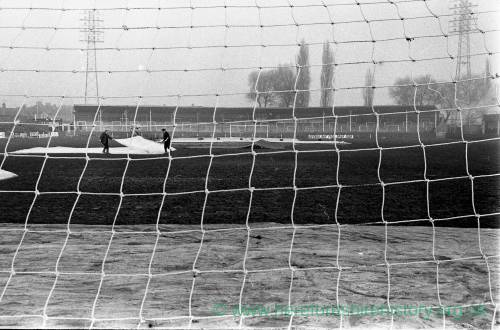 The Edgar Street ground being protected before the Newcastle match, 1972.
