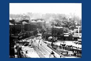Wimbledon Bridge: Laying tram track near the station