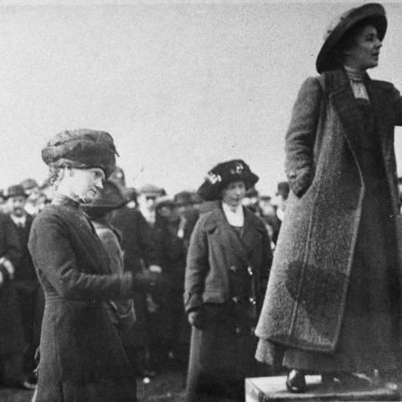 Suffragette Rose Lamartine Yates giving a speech