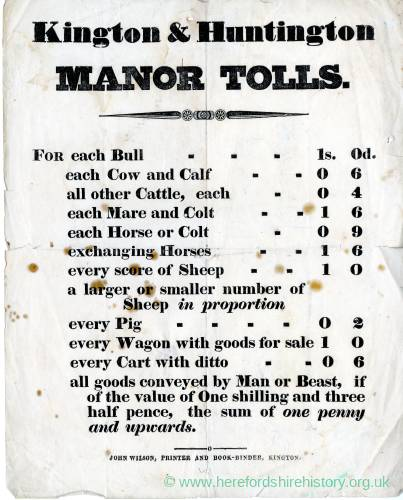 Kington & Huntington Manor Tolls - Table of Charges (undated).jpg