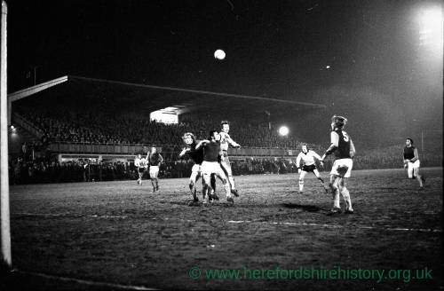 Hereford United attacking the Meadow End v West Ham, Feb 1972.