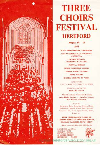 Three Choirs Festival, Hereford, 1973 poster