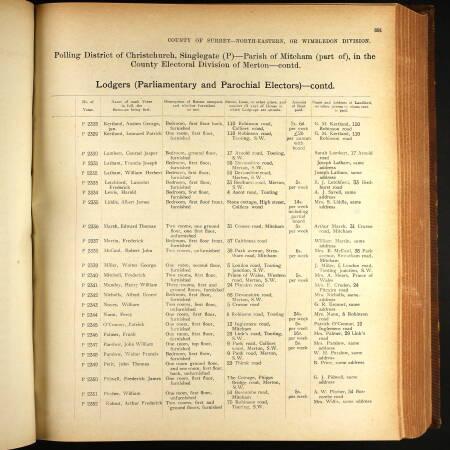 AF Ridout Electoral Register 1911