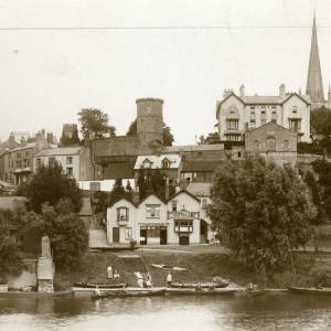 RGE008 - View of Ross from the river - caption says, Reamins of Paddle Steamer 'within the castle'.jpg