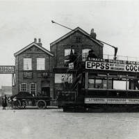 Tram at Linacre Road terminus