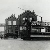 Tram at Linacre Road terminus