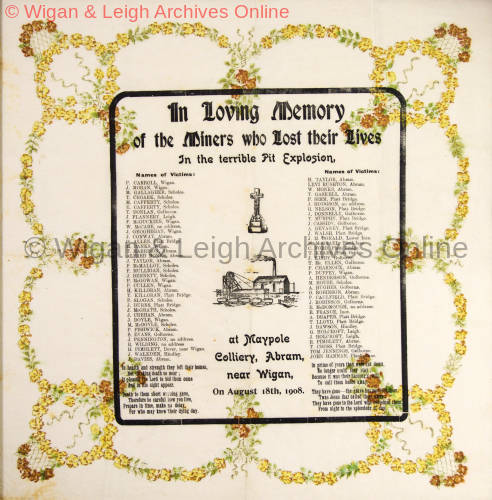 Tissue produced in memory of the men who died at the Maypole Colliery Explosion, Abram, Wigan, 1908
