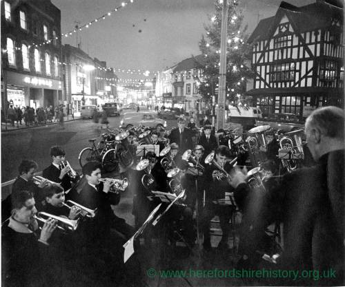 A brass band playing in High Town Hereford during Christmas period