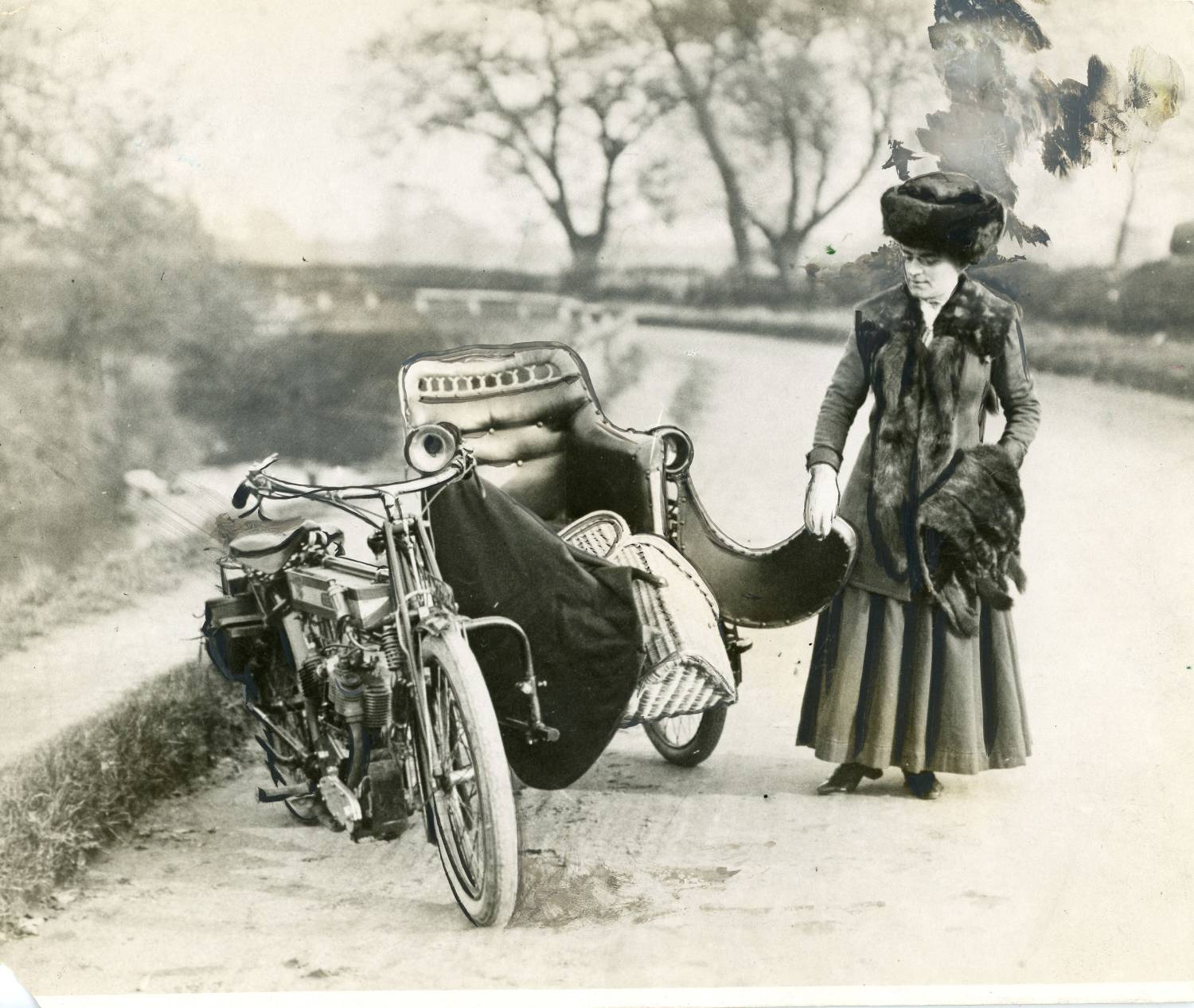 Bike and sidecar, with Kitty Brunell, trials rider at 20