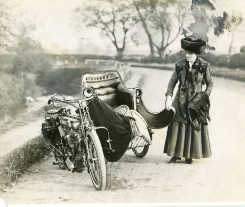 Bike and sidecar, with Kitty Brunell