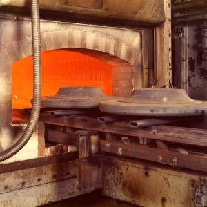 A hot furnace at Wiggins factory in Hereford.