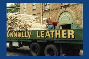 Hides being unloaded at Connolly's Leather works