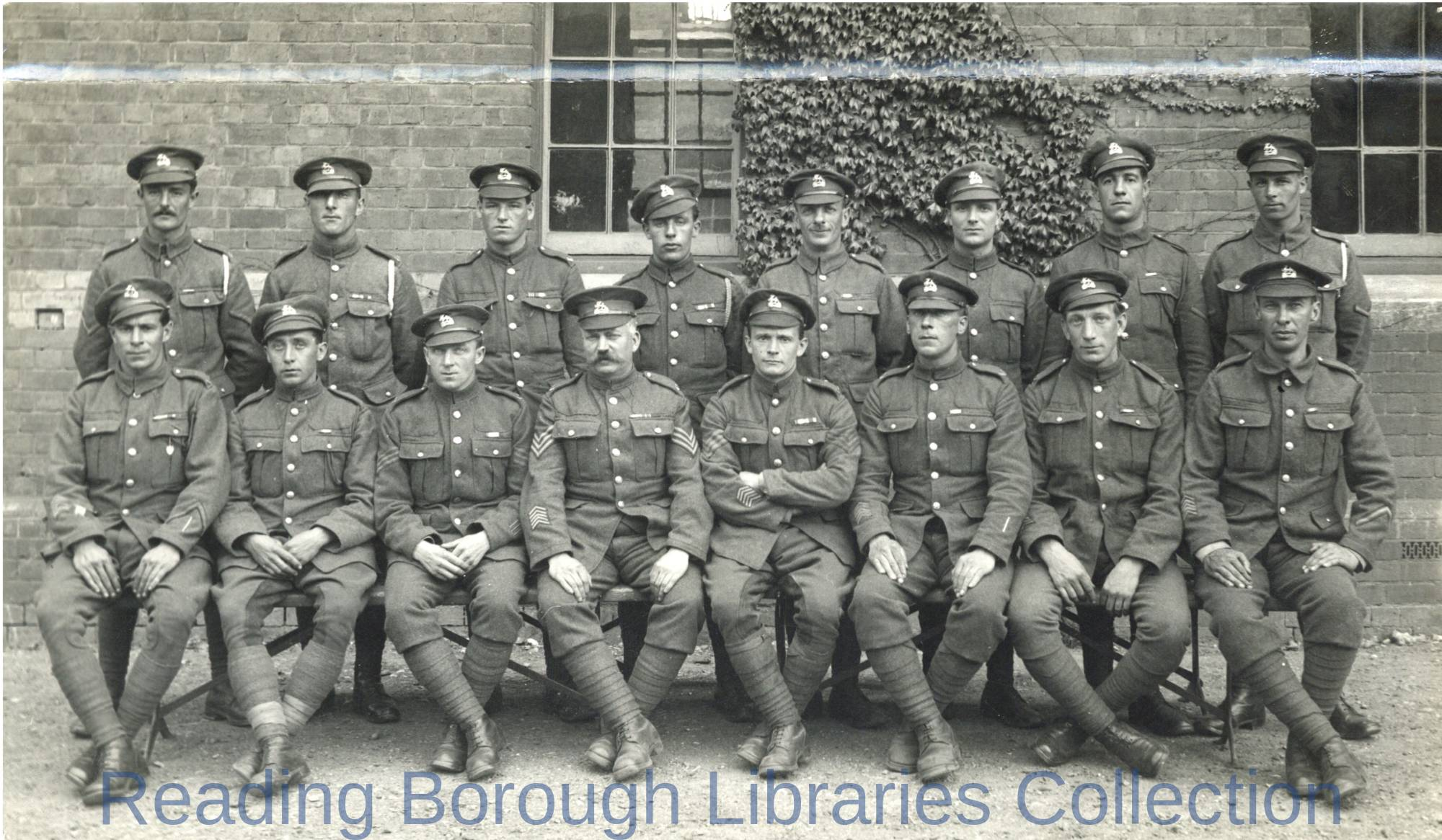 The Return of the 5th Battalion Royal Berkshire Regiment 18 June 1919. The 16 men who served all through the war are photographed at Brock Barracks.