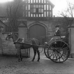 G36-311-03 Lady seated in a  trap outside the gates of the Bishops Palace .jpg