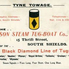 Business Card for Lawson Steam Tug-Boat Co Ltd