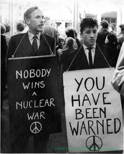 CND campaigners Erikie Wood (with companion Allen Street?)