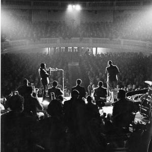 A jazz band performing at Birmingham Town Hall, 1950s