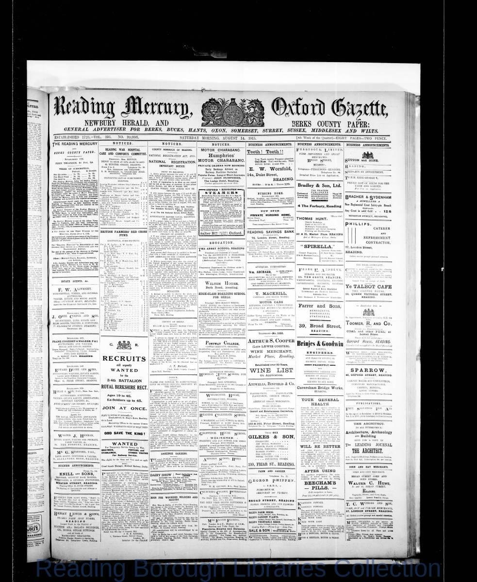 Reading Mercury Oxford Gazette Saturday , August 14, 1915. Pg 1