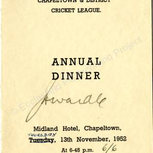 Chapeltown and District Cricket League Annual Dinner 1952 b.