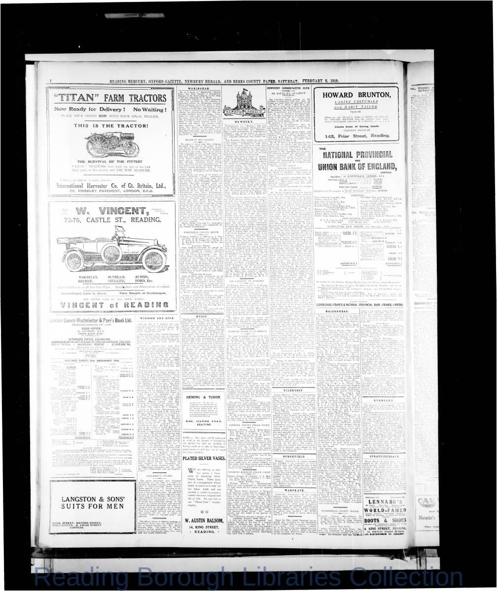 Reading Mercury Oxford Gazette  Saturday February 8,1919. Pg 4