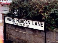 Lower Morden Lane: street sign. Nos, 154 to 170