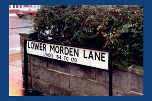 Lower Morden Lane: street sign. Nos, 154 to 170